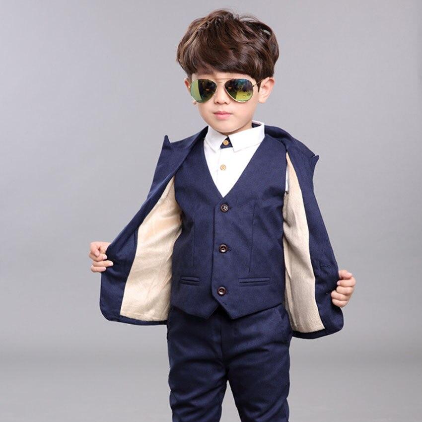 2017 Blue Boys Blazer Suits Kids Cotton Single Breasted Jacket+Vest+Pants 3 pieces/set Children Clothes Sets for Weddings Party<br><br>Aliexpress