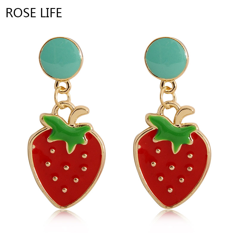 ROSE LIFE 2017 Fashion Temperament Simple And Lovely Personality Strawberry Cartoon Fruit Earrings Earrings Jewelry(China (Mainland))