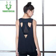 Vansydical  Women's Yoga Shirts GYM Running Fitness Yoga TopsProfessional Sport Vest Sexy Hollow Sleeveless Quick Dry Loose