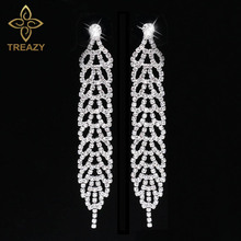 TREAZY Silver Color Leaf Shape Crystal Bridal Long Earrings Diamante Rhinestone Wedding Party Long Dangle Earrings for Women(China)