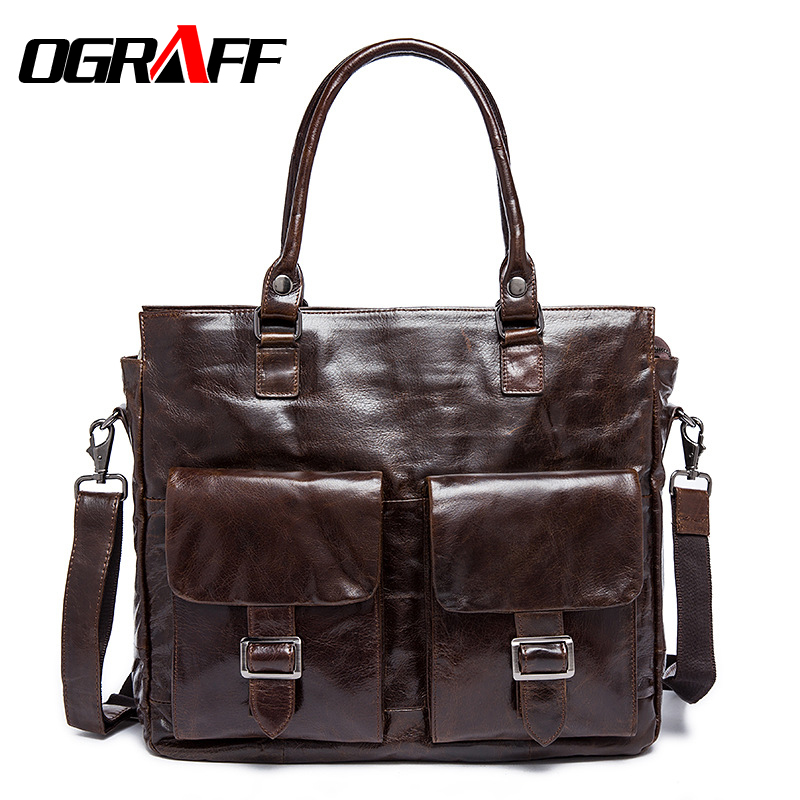 OGRAFF Genuine leather bag men messenger bags shoulder leather bags briefcase famous designer 2017 high quality business men bag<br><br>Aliexpress