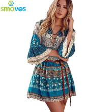 Colysmo Elastic Waist Boho Flare Half Sleeve V Neck Lace Up Women Beach Dress Bohemian Floral Print Casual Mini Dresses Sundress(China)