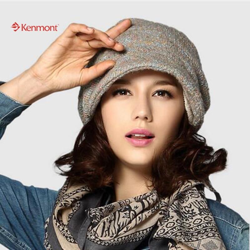 Kenmont Autumn Winter Women Girl Lady Acrylic Earflap Ski Warm thick lining Beanie Kintted Elastic Caps Beret Hat 1516Îäåæäà è àêñåññóàðû<br><br>