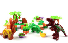 40pcs/set Dino Valley Building Blocks Large particles Dinosaur Paradise Animal Model toys Compatible Duploe(China)