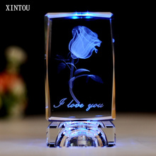 XINTOU 3D Laser Engraved Rose Flower Figurine Crystal Glass Cube Craft Supplies Valentine's Mother's Day Wedding Decoration Gift