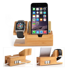 E-EDC 2 in 1 Bamboo Wood Charging Dock Charge Station Holder With 3 Ports USB 2.0 Hub for Apple Watch 38mm 42mm & iPhones
