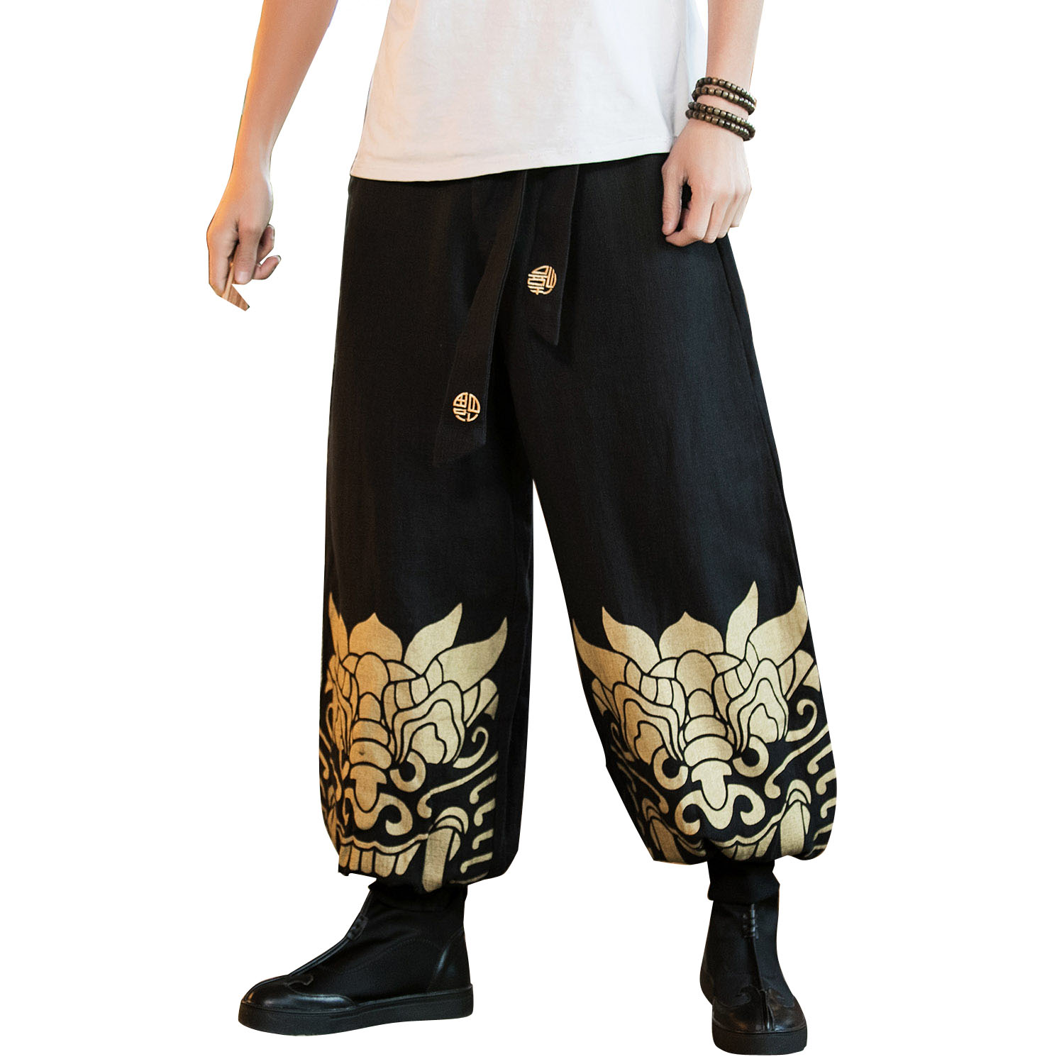Chinese Style Men's Cotton Linen Casual Pants Wide Leg Printed Harem Pants Male Fashion Loose Trousers