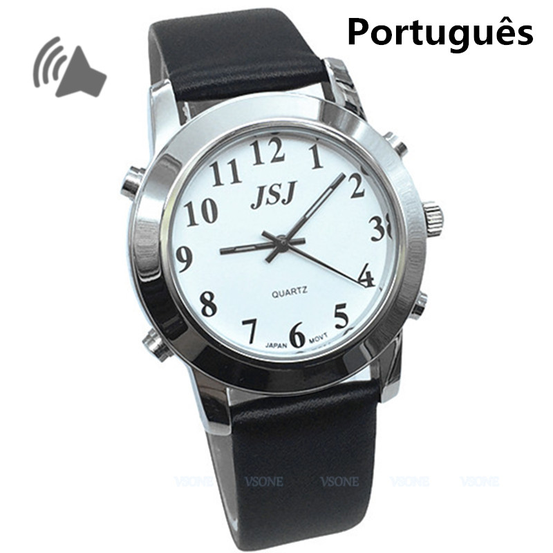 Portuguese Talking Watch for Blind People or Visually Impaired with Black Leather Band<br>