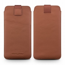 For Galaxy S8 Plus Case QIALINO Genuine Leather Sleeve Phone Pouch for Samsung Galaxy S8+ SM-G955, Size: 158 x 80mm - Brown