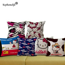 Keythemelife Home Office Sofa Decor Throw Pillow Cover 45*45cm Hello Kitty Household Pillowcase Cushion Linen Fabric 2B