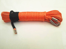 "Free Shipping  Orange 8mm*15m Synthetic Winch Rope,5/16"" Boat Winch Rope,Kevlar Rope,ATV Winch Line"
