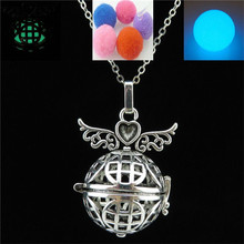Free shipping Y20930 Vintage Glow In The Dark Fragrance Diffuser Wing Coin Perfume Locket Necklace 24""