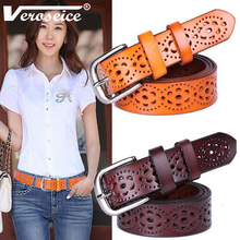 [TG] Hot Sale Unique Genuine Leather Women Belt Cowhide Punched Strap All Match Jeans Female Belts For Women High Quality