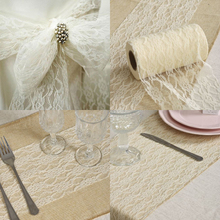 "9 Meter / Roll Lace Fabric 6"" ribbon Netting Fabric For DIY Wedding Party Chair Sash Bow Table Runner Event Party Craft"