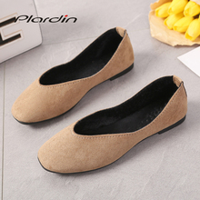 Plardin 2018 Fashion Flock Women's Flats New Summer Slip-On Round Toe Casual Flat Shoes Basic ballet Shoes Woman Size Plus