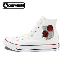 White Black Converse All Star Shoes Attack on Titan Military Police Regiment Logo Stationed Corps Men Women Canvas Sneakers(China)