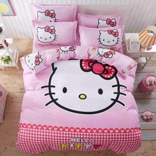 pink hello kitty girls boutique bedding set duvet cover bed sheet pillow case queen/full/twin size,gift for kids