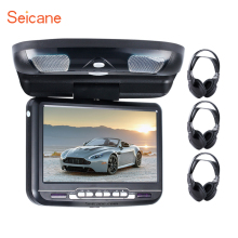 Seicane9 inch Car Roof Mounted Monitor LED Digital Screen DVD Player with 3 IR ear FM Transmitter Flip Down Support 32 Bits Game