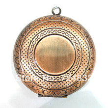50mm Vintage Antique Copper Brushed Big Round Openable Wish Box Prayer Photo Locket Frame Pendant European Charms Bulk Wholesale