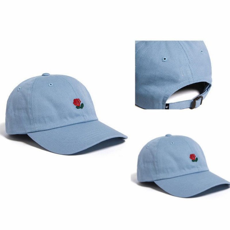 Rose Embroidered Floral Unisex Adjustable Curved Brim Cap Baseball Hat Casual