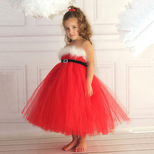 Girls Red Christmas Dress Girls Belt Tutu Dress Xmas Girls Party Dress Kids Wrapped Chest Mesh Princess Dress Children Costume