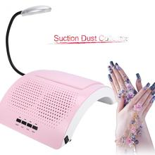 60W Salon Two Fan Suction Dust Collector UV Gel Polish Nail Vacuum Dryer Nail Art Manicure Machine Dust Collector Tool+LED Light(China)