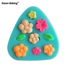 3D Silicone Mold Flower And Leaves Shapes Mould For Soap,Candy,Chocolate,Ice,Cake CCC014(China)