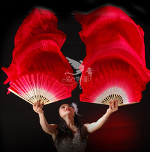 Real Silk Long Fan Veil For Belly Dance Thicker Oriental Dancing Veil Fan Right Left Hand 180cm Red