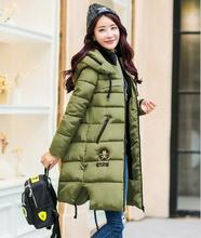 Winter Thickening Women Parkas Women Wadded Down Outerwear Fashion Cotton-padded Jacket Medium-long Coat Army Green