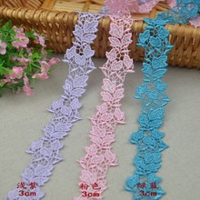 3M/ Lot 30MM Width lace ribbon DIY decorative lace trim fabric wedding birthday Christmas decorations HB06(China)