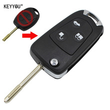 KEYYOU with LOGO New 3 Buttons Remote Folding Key Flip Shell Case Uncut Blank For Ford Focus Mondeo Fiesta