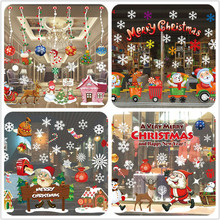2017 Christmas Decoration Window Glass Stickers Merry Christmas Santa Claus Snow PVC Removable Wall Sticker for Xmas Home Decals(China)