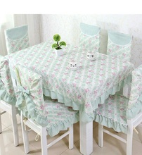 Lace small fresh pastoral cotton tablecloth set suit 130*180cm table cloth matching chair cover 3 colors 1 set price free ship