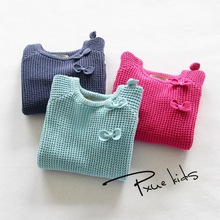 2-7T Kids Girl Sweater Fashion Lace Bow Sweater Children Cotton Cardigan Baby Outerwear Girls Knitwear Clothes Spring Autumn