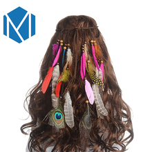 M MISM 2017 New Feather Peacock Headband Indian Artificial Feather Headband Braided Headbands Beaded Headband Hippie Headdress