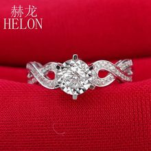 HELON Worth ! 4mm Round Full Cut Natural diamonds Engagement Wedding Ring Solid 18k White Gold Diamond Women's Jewelry Fine Ring(China)