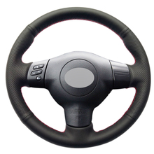 Black Leather Hand-stitched Car Steering Wheel Cover for Toyota Corolla 2004-2006