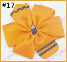 free shipping 30pcs 4.5'' School Hair Bow Go back to School Stacked Boutique Hair Bow Crayon hair bow pencil hair bows