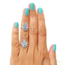 Hot New Come Retro Vintage Silver women Hand rings Of Fatima Hamsa With Evil Eye For Protection 1FMH