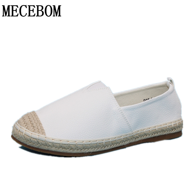 2018 Loafers shoes Women slip on Flats Solid spring Summer ladies round toe white shoe Plus Size footwear Y161W<br>