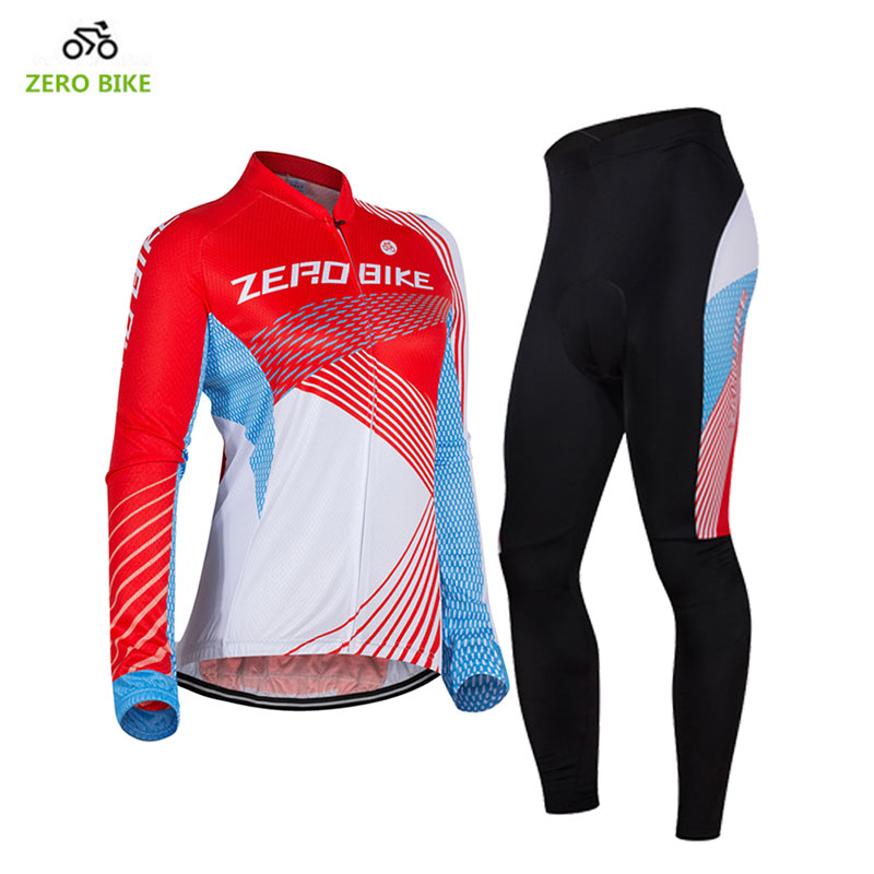 ZEROBIKE Womens Cycling Clothing Breathable Long Sleeve Full Zip Sports Jersey Bicycle Pants 3D Padded ciclismo Red US Size<br>