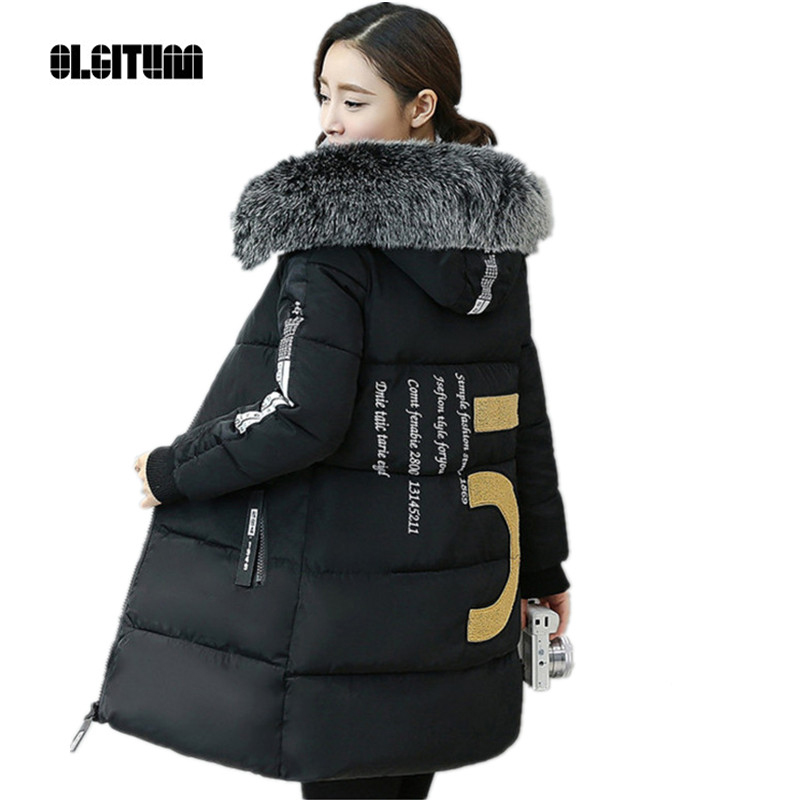 OLGITUM Women winter coat  jacket cotton-padded jackets women Large  fur collar down wadded jacket thickening female CD563Одежда и ак�е��уары<br><br><br>Aliexpress