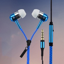 New Metal Zipper Earphones 3.5mm in-ear earphone with mic for IPHONE 4s 5 5s for ipad 2 3 4 mini mp3 mp4 For samsung S5 S6