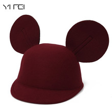 YIFEI Winter Wool Felt Lovely Mouse Parent-child Baby Horseman Hat His Big Ears Children Mickey Ears Equestrian Cap(China)