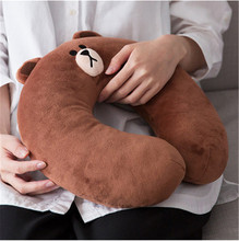 Hot 30cm Japan Line Friends Brown Bear Cony rabbit Small yellow chicken Stuffed Plush Doll Toy Gift U-shape Pillow(China)