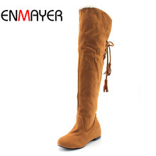 ENMAYER Fashion Snow Boots  Fashion Winter Back Lace Up Knee High Boots for Women Drop Shipping Long Boots Shoes Women New