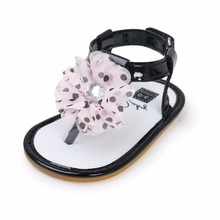 Baby Girls Shoes Floral Princess Beautiful Flower Sandals Flat Roman Non-Slip Soft Sole Sneakers Newborn Infant Black Spot