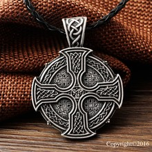 LANGHONG 1pcs Solar Cross Celtics Armenian cross Druid Pendant Necklace Amulet Pendant Necklace Talisman(China)