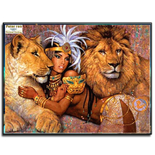 Peter ren DIY Diamond Embroidery girl lions 3d square mosaic Craft 100% Full icon painting kits Decoration Ornaments beauty lion(China)