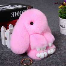 2017 New Fur Rabbit Keychain Woman Gift Bijouterie Pompon Hare Key Ring Fluffy Keychain Fur For Car Bag Baubles Pendant Animal